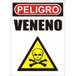 CARTON SEÑALAMIENTO Peligro veneno 22 cm x 28cm
